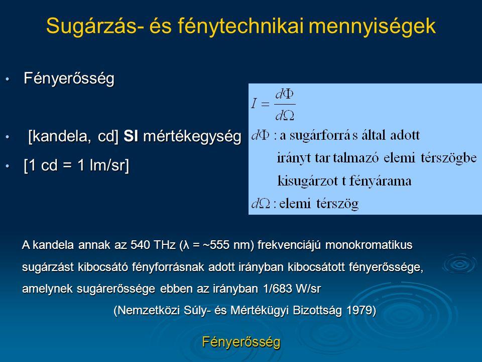 Fényerősség [kandela, cd] SI mértékegység [1 cd = 1 lm/sr]